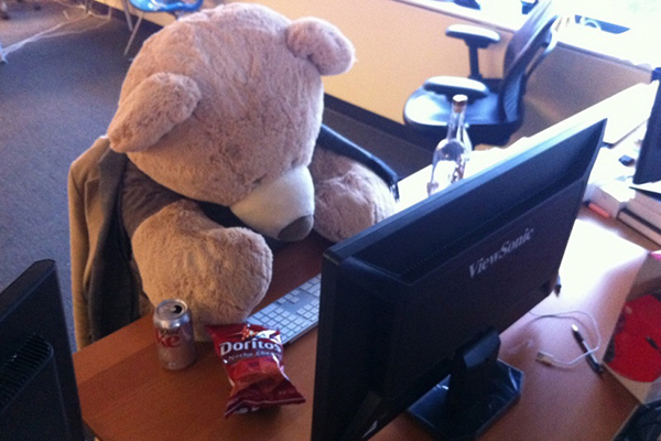 Teddy bear typing on a computer